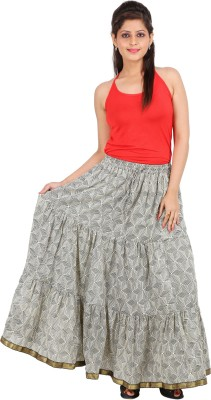 Ceil Printed Women's Gathered Grey Skirt
