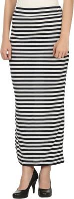 My Swag Striped Women's Straight Blue, White Skirt