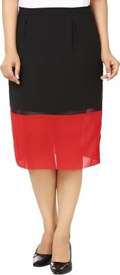 Vivaa Solid Women's Straight Red, Black Skirt