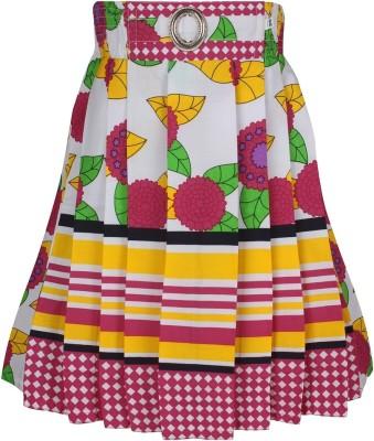 Jazzup Printed Girl's Gathered Yellow, Green Skirt
