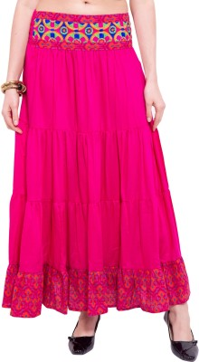 Tuntuk Solid Women's A-line Pink Skirt