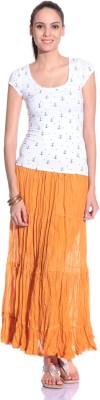 Styleava Solid Women's Regular Orange Skirt