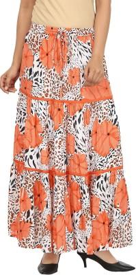 Pops N Pearls Floral Print Women's Broomstick Orange Skirt
