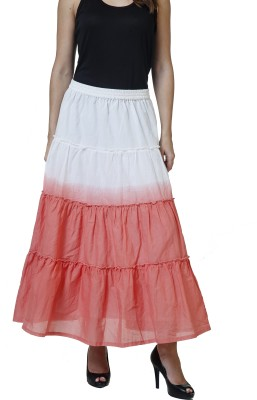 Rute Solid Women's A-line White, Red Skirt