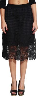 LGC Embroidered Women's Asymetric Black Skirt