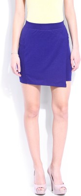 Dressberry Solid Women's Asymetric Blue Skirt