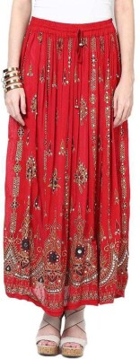 Dimpy Garments Embellished Women's Straight Red Skirt