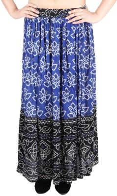 Franclo Self Design Women's Regular Blue Skirt