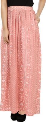 India Inc Printed Women's Gathered Pink, White Skirt