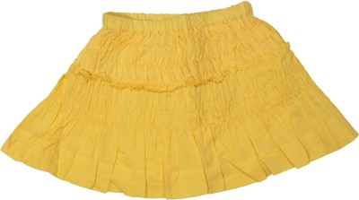 Gini & Jony Solid Girl's Gathered Yellow Skirt