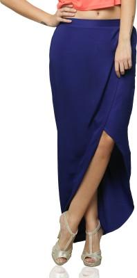 Miss Chase Solid Women's Dark Blue Skirt