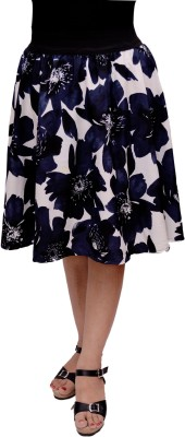 GraceDiva Floral Print Women's Gathered Dark Blue Skirt
