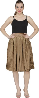 Famous by Payal Kapoor Solid Women's Pleated Brown Skirt