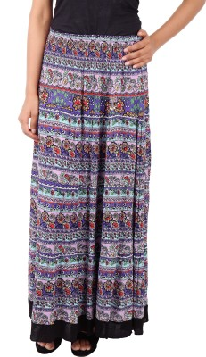 Naitik Printed Women's A-line Blue Skirt
