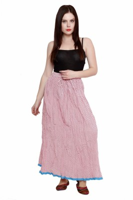 Pistaa Printed Women's A-line Pink Skirt