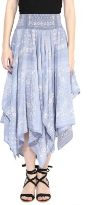 Grain Printed Women's Pleated Blue Skirt