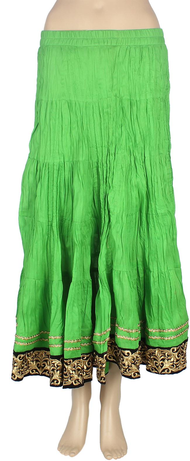Mina Bazaar Solid Womens A-line Green Skirt