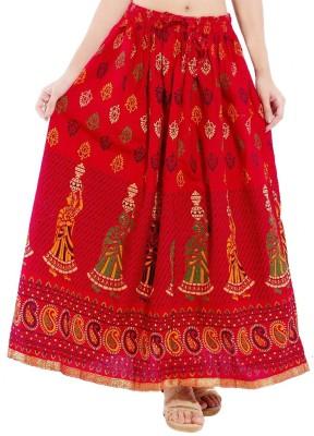 Decot Paradise Self Design Women's Regular Red Skirt