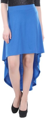 Street 9 Solid Women's Asymetric Blue Skirt