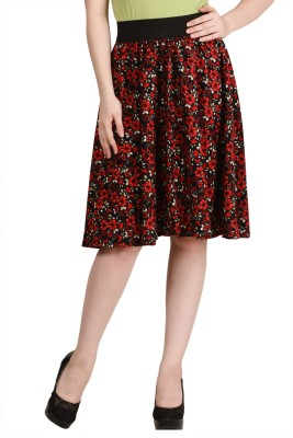 Modish Vogue Printed Women,s Regular Black, Red Skirt