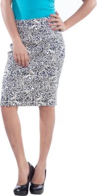 TrendBAE Self Design Women's Straight Blue Skirt