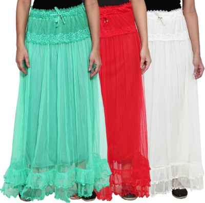 NumBrave Self Design Women's Layered Green, Red, White Skirt