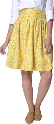 Hitch-Ki Floral Print Women's A-line Yellow Skirt at flipkart