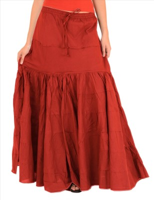 Skirts & Scarves Solid Women's A-line Red Skirt