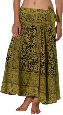 SBS Printed Women's Wrap Around Green Skirt