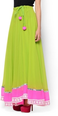 Navyou Solid Women's A-line Light Green Skirt