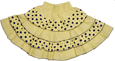 Retaaz Polka Print Girl's Tiered Yellow, Blue Skirt