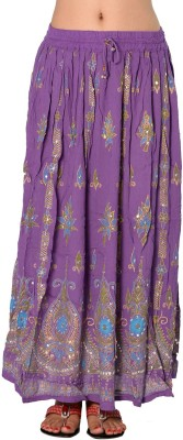 Pms Fashions Printed Women's Regular Purple Skirt