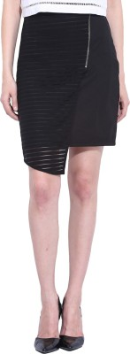 Leo Sansini Striped Women,s Straight Black Skirt