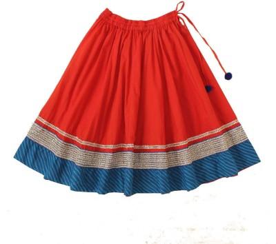Little Pocket Store Embellished Girl's Gathered Red Skirt