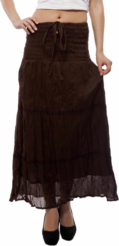 Indi Bargain Solid Women's A-line Brown Skirt