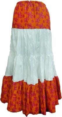 B VOS Floral Print Women's A-line Orange Skirt