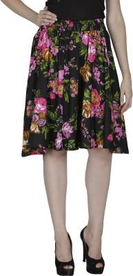 Shopping Villa Floral Print Women's A-line Black Skirt