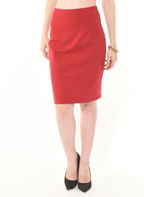 Besiva Solid Women's Straight Red Skirt