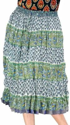 Jaipur Raga Floral Print Women's Regular White Skirt