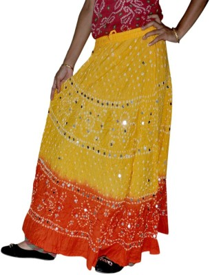 Ooltha Chashma Self Design Women's Broomstick Yellow, Red Skirt