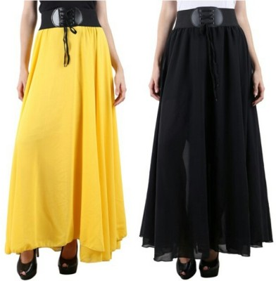 Raabta Fashion Solid Women's A-line Black, Yellow Skirt