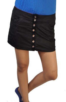 No Code Solid Women's Straight Black Skirt