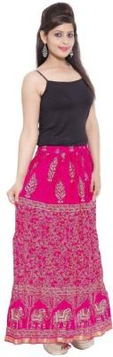 Ooltah Chashma Printed Women's Straight Pink Skirt