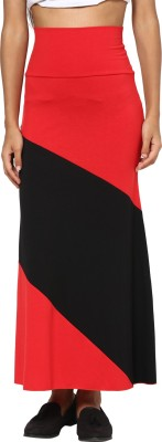 T-shirt Company Solid Women's Straight Red, Black Skirt