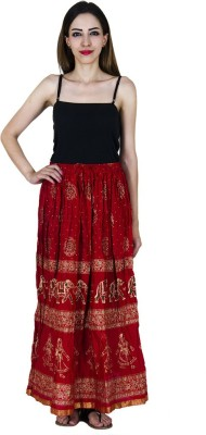 Home Shop Gift Printed Women,s Straight Red Skirt