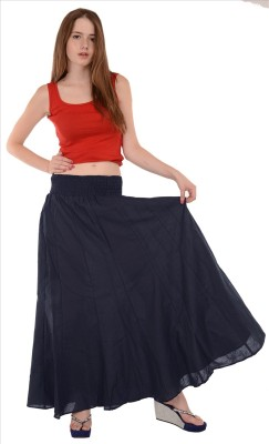Skirts & Scarves Solid Women's A-line Dark Blue Skirt
