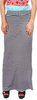 Gwyn Lingerie Striped Women's Straight Black Skirt