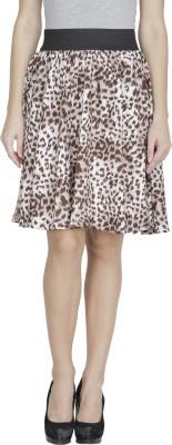Shopping Villa Animal Print Women's A-line Brown Skirt