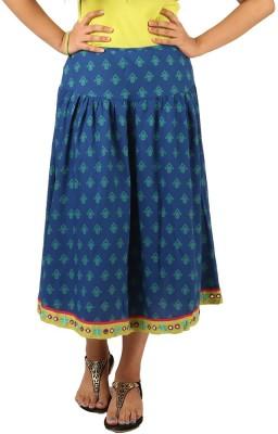 INDRICKA Printed Women's Straight Blue Skirt