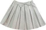 IDK Printed Girls Pleated White Skirt